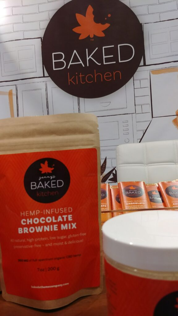 Jenny's Baked at Home CBD Brownie Mix and hemp chocolate